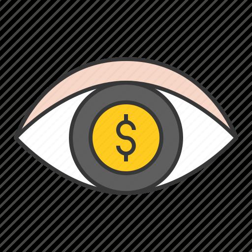 eye, money, startup, vision icon