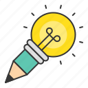 bulb, idea, light bulb, pencil, startup icon