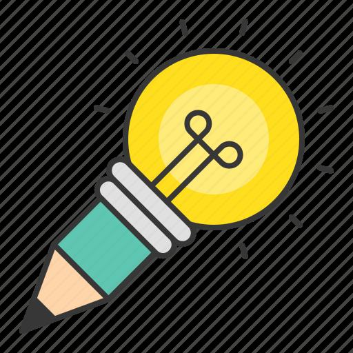 bulb, idea, light bulb, pencil, startup icon