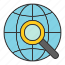 find, globe, magnifier, search, startup icon