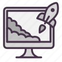 monitor, rocket, start, startup, takeoff icon