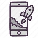 mobile, phone, rocket, start, startup, takeoff icon