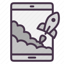 rocket, start, startup, tablet, takeoff icon