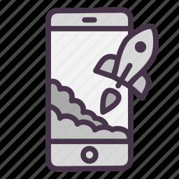 mobile, phone, rocket, start, startup, takeoff icon