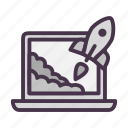 laptop, notebook, rocket, start, startup, takeoff icon