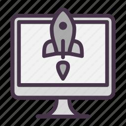 monitor, rocket, start, startup, takeoff icon