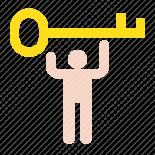 key, keyman, startup, success icon