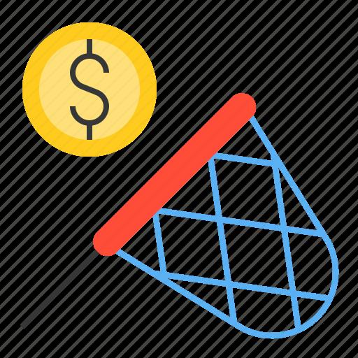 catch, invest, money, net, startup icon