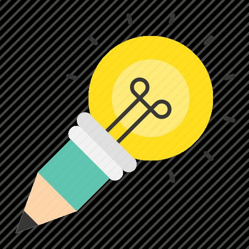 bulb, light bulb, pencil, startup icon