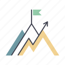 achieve, business, goal, graph, growth, success, victory icon
