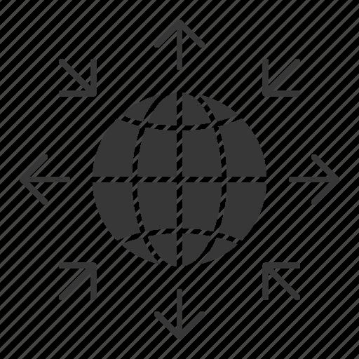 arrow, business, globe, seo icon