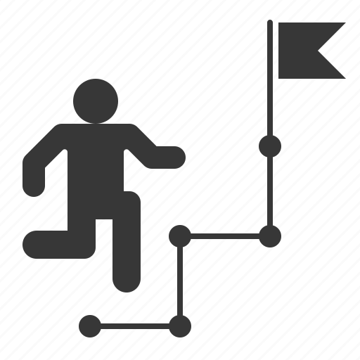 business, goal, route, strategy icon