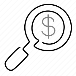 dollar, finance, investment, magnifier, startup icon