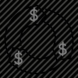 circle, dollar, money, startup icon