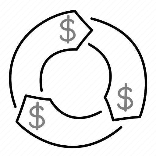 circle, dollar, money, startup icon