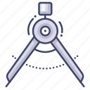 compasses, drawing, stationary, tool icon