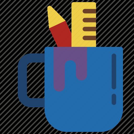 drawing, mug, pen, pencil, ruler, writing icon