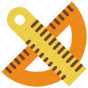 drawing, geometry, protrator, ruler, stationary, writing icon