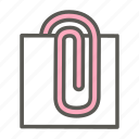 attach, clip, note, office, paper, paperclip, stationery icon