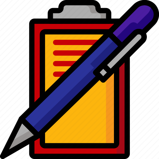 clipboard, color, office, pen, school, stationary, ultra icon