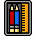case, pencil, school, office, color, ultra, stationary icon