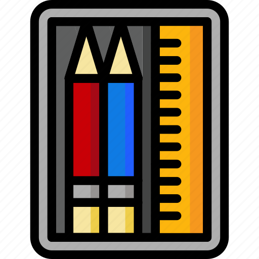 case, color, office, pencil, school, stationary, ultra icon