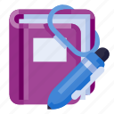ballpoint, book, business, diary, office, stationery, work icon