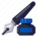 business, equipment, ink, office, pen, stationery, work icon