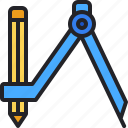 drawing, compass, pencil, education, school