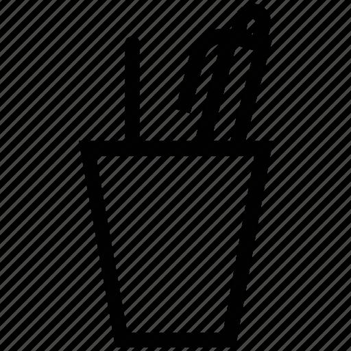 pencil case, pencil holder, pencil pots desk pots, stationery case icon