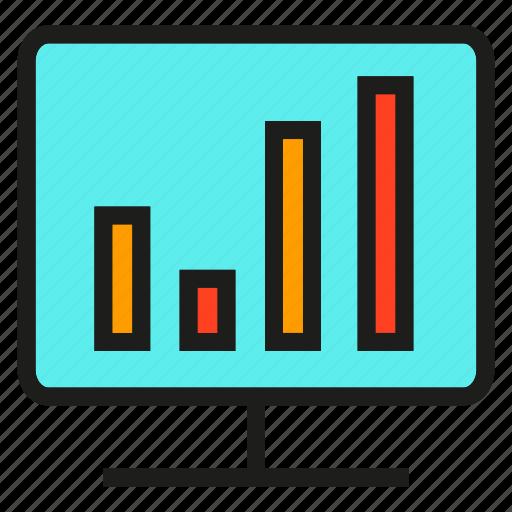 analytics, chart, computer, data, graph, monitor, stats icon