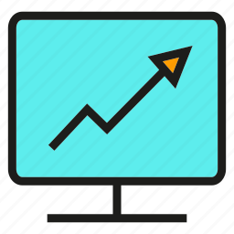 arrow, chart, computer, graph, monitor icon