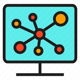 computer, connection, link, monitor, network, share, social network icon