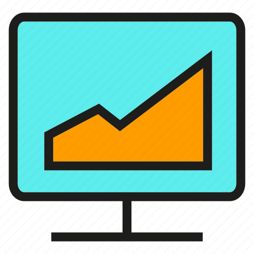 analytics, chart, computer, data, graph, monitor, stats icon