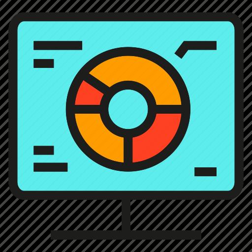 analytics, computer, graph, market share, pie chart, stats icon