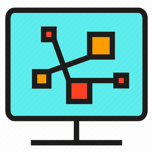 analytics, chart, computer, connect, graph, link, monitor icon