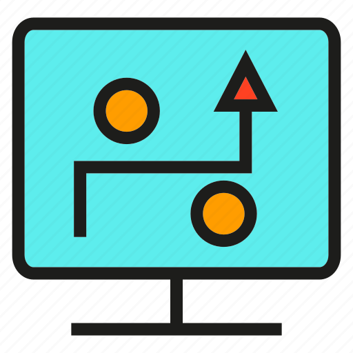 computer, monitor, plan, process, strategy, tactics icon