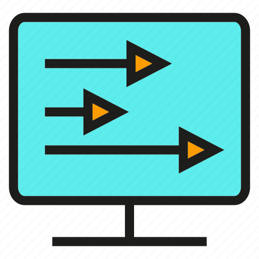 analytics, arrow, chart, computer, data, graph, stats icon