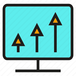 analytics, arrow, chart, computer, data, graph, stats icon