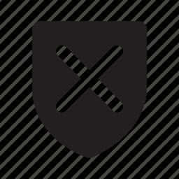 check, mark, no, shape, shield, status, wrong icon
