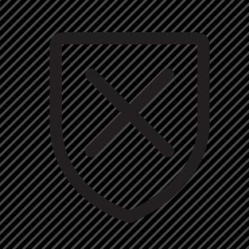 cancel, checkmark, no, offline, shield, status, wrong icon