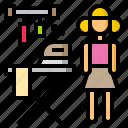 board, clothes, iron, ironing, press, woman