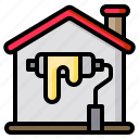 home, house, paint, painted, roller icon