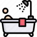 activities, bathing in bathtub, bathroom, enjoy, hobby, lifestyle, stay at home icon
