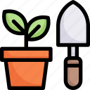 activities, enjoy, gardening, hobby, lifestyle, planting, stay at home icon