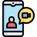 activities, enjoy, hobby, lifestyle, mobile, stay at home, video call icon