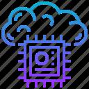 brain, chip, cloud, data, digital icon