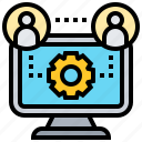 collaboration, communication, computer, connection, teamwork icon