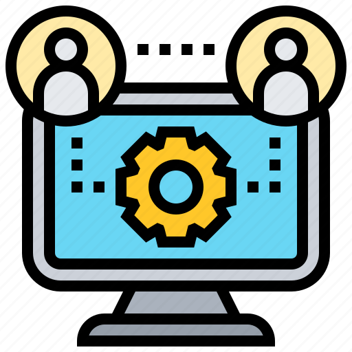 Collaboration, communication, computer, connection, teamwork icon - Download on Iconfinder