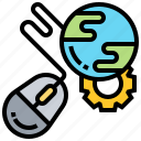 connection, global, internet, mouse, technology icon